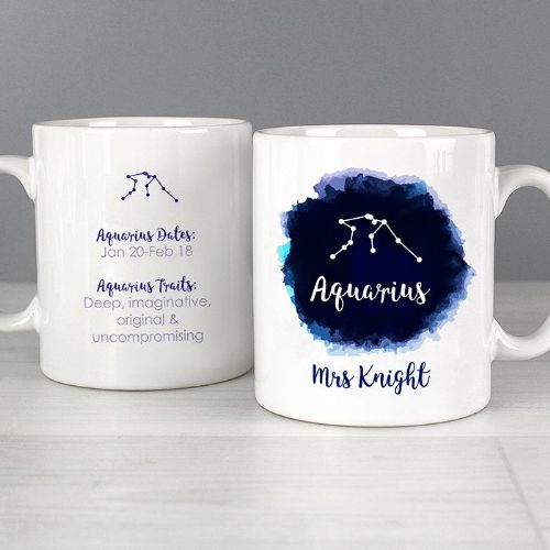 Personalised Aquarius Zodiac Star Sign Mug